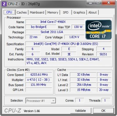 4960X @ 6203.61 MHz