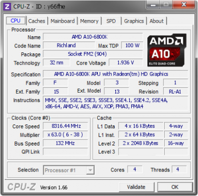 A10-6800K @ 8316.44 MHz