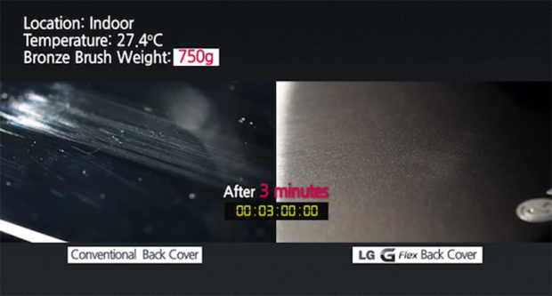 carcasa autorreparable del LG G Flex