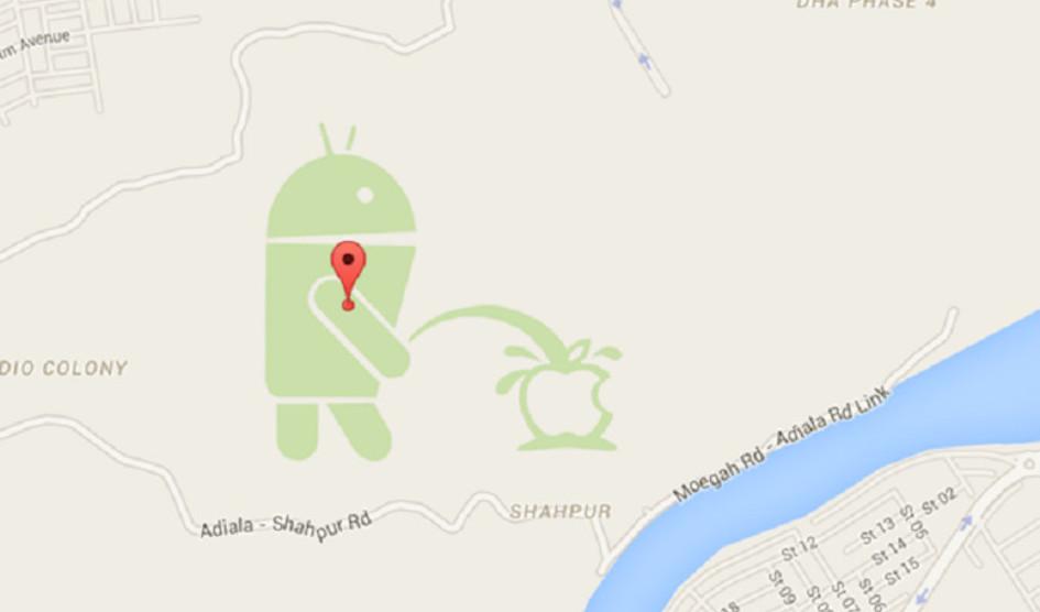 Android hace pis al logotipo de Apple en Google Maps