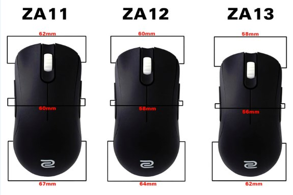 Mouse para juegos serie ZA de Zowie, vienen en tres tamaños-2