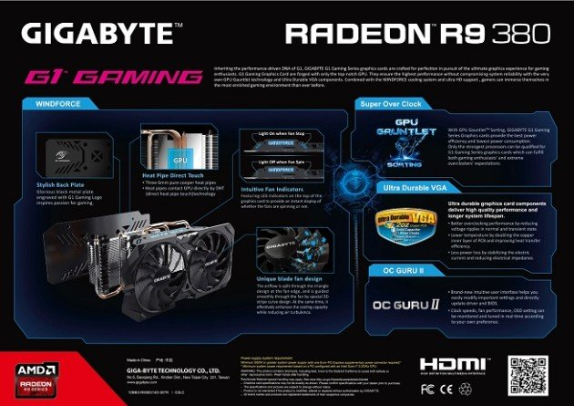 Se deja ver la GIGABYTE Radeon R9 380 G1 GAMING 2