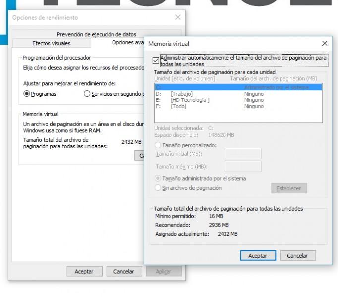 Cómo acelerar Windows 10 y Ajustar la memoria virtual-3