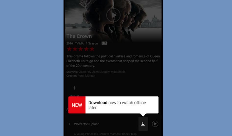 Netflix permite a los usuarios de Android descargar contenido a la