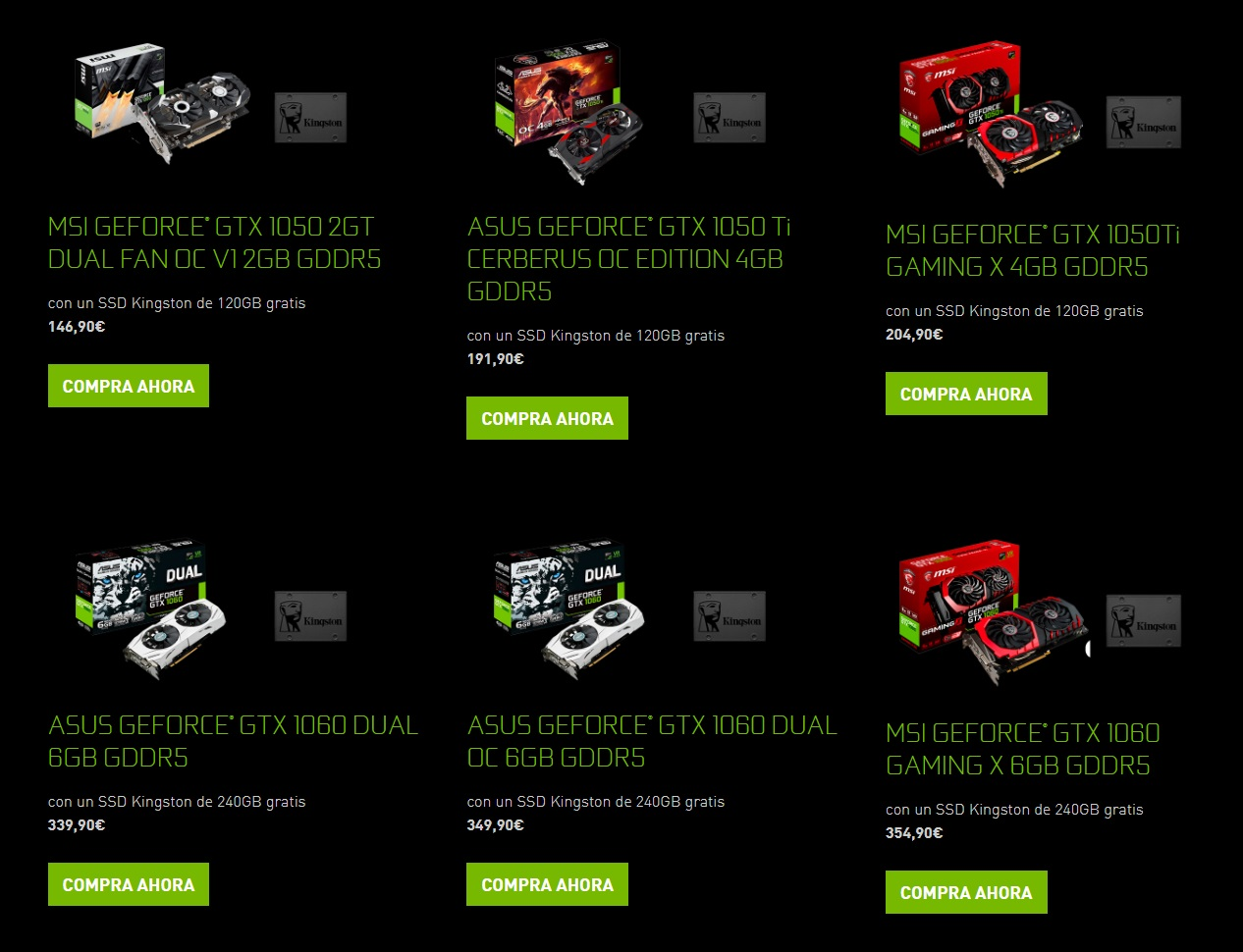 Algunas de las promociones que ofrece Nvidia en España.