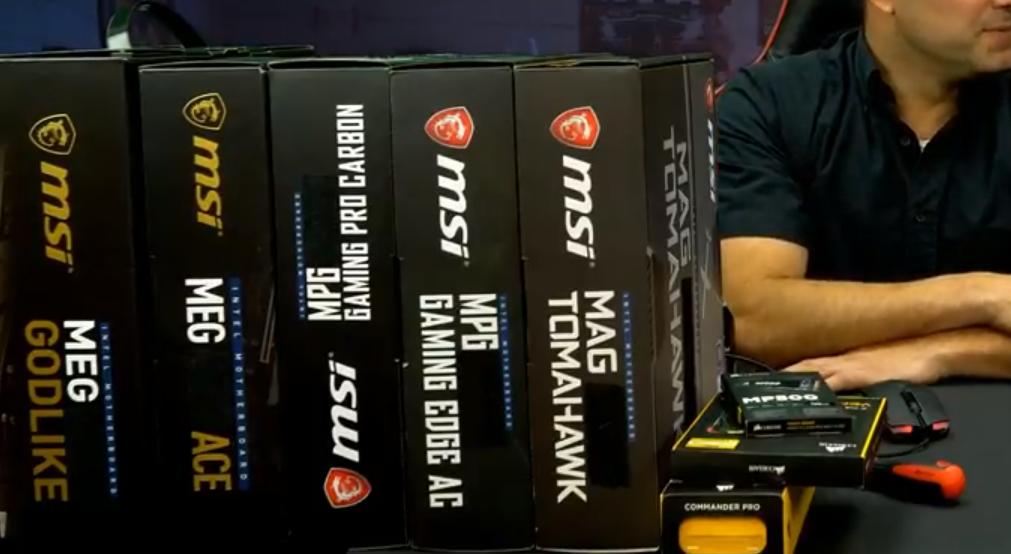 Algunas de las placas madre MSI mostradas durante la transmisión en vivo.