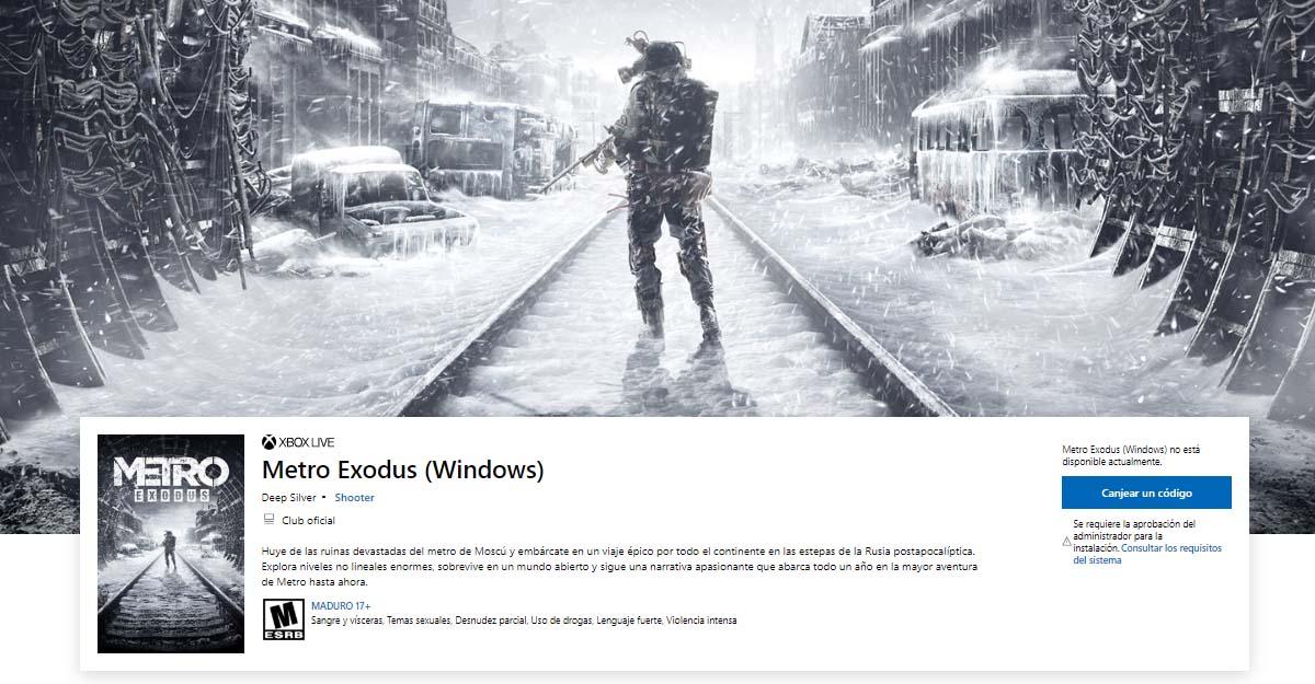 El listado de Metro Exodus en la Microsoft Store.